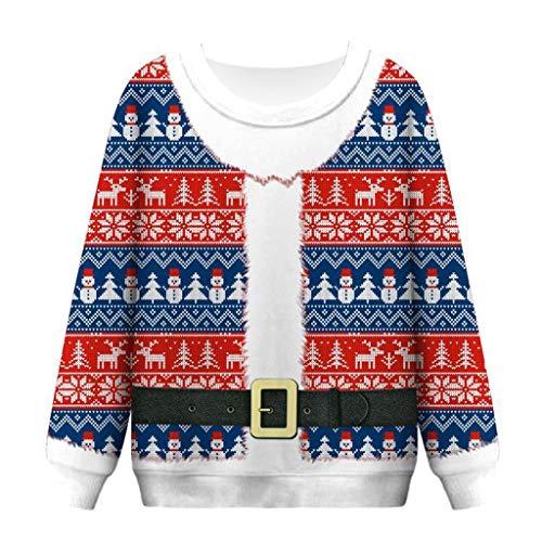 Weihnachten Pullover Damen,Fröhliche Weihnachten ZuzongYr Weihnachten Kostüme Frauen Oberteile Lustige Druck Weihnachten Sweatshirt Crewneck Tops (Lustige Kostüm Zum Verkauf)