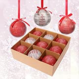 Valery Madelyn 9tlg.8cm Traditionelles rotes graues bruchsicher Weihnachtskugeln Deko Set