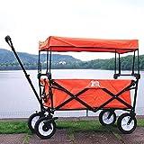 Multi-function trolley Einfacher Kleiner Wagen, Reine Farben-Gummirad-Laufkatze, Reise-Einkaufsgepäckwagen, Haustier-Anhänger, Last 80 Kilogramm (Farbe : Orange)
