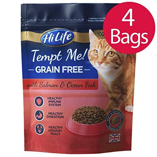 HILIFE Tempt Me Getreide gratis Katzenfutter mit Lachs und Ocean Fisch, 800g, 4Stück