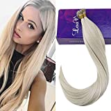 LaaVoo 20 Inches Remy Tippped Fusion Straight Hair #60 Lightest Blonde Real Brazilian