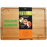 Planche à découper Bambou avec taille optimale de 35 x 25 x 1,5 cm, | Planche à découper avec rigole et jus de pêche Stelle | antibactérien pour viande et le fromage à sec | Planches à découper Planche à petit déjeuner en bambou de qualité supérieure.