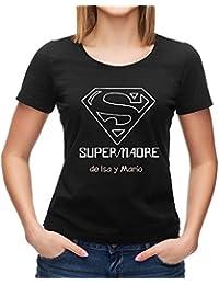 a7985e5612a6a Calledelregalo Regalo Para Madres Personalizable  Camiseta  SuperMadre   Personalizada con el Nombre o Nombres