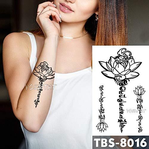Tzxdbh 12x19cm tatuaggi temporanei impermeabili lotus testo flash tattoo sticker mandala fiore tribale totem tatoo braccio diy