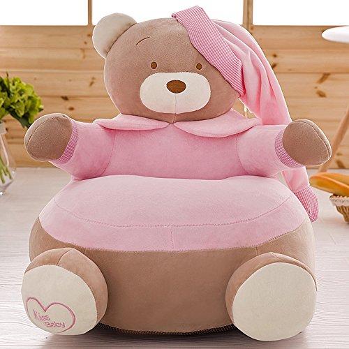 MeMoreCool Fauteuil pour enfants en forme d'ours Housse amovible souple Jaune, Coton, rose clair, 20\\