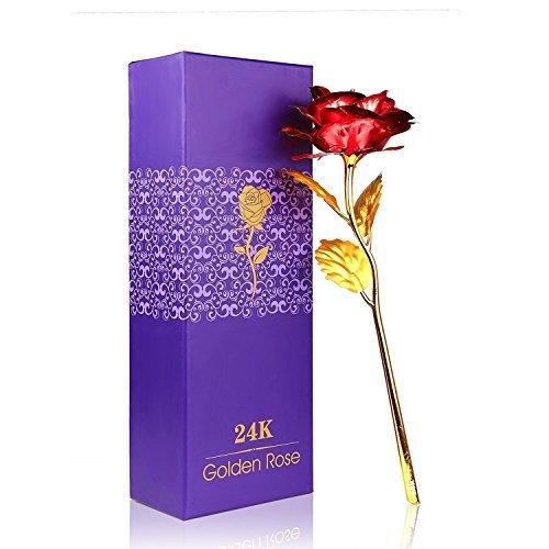 Onerbuy creative 24k oro fiore rosa fiore pieno regalo romantico per voi con box, fatto a mano e l'amore last forever (rosso)