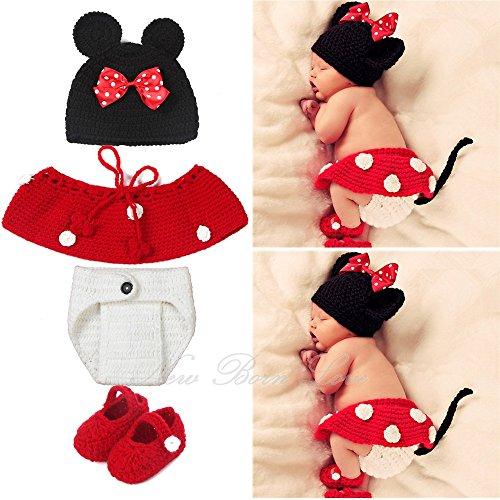 Crochet Knit Kostüm Fotografie Prop Outfits Cute Cartoon Maus 4Stück ()