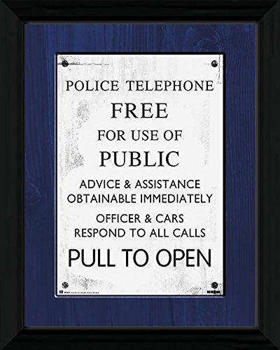 Dr Who Tardis Sign - montiert & gerahmter Druck - 44 x 34 cm ( ca. 18 x 14 Inches)