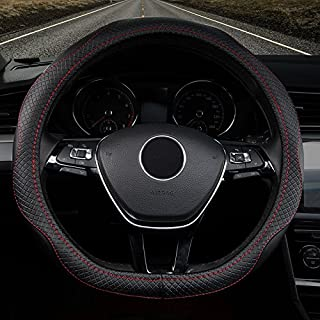 Han Sui Song Steering Wheel Cover for Car, Genuine Leather, for up. Neue Polo Golf Touran Sharan Passat Variant Beetle Neue t-roc Tiguan Touareg Passat 38cm linea rossa