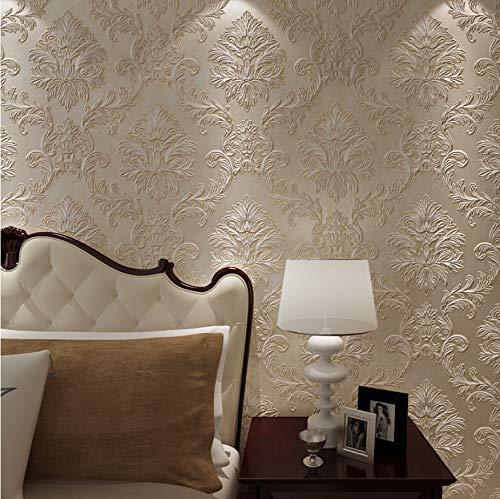 Carta da parati beige stile europeo per pareti carta da parati non tessuta vintage in 3d, rotoli carta da parati damascata floreale per soggiorno camera da letto 0.53x10m