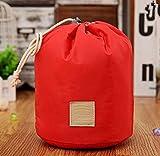 TENGGO Hohe Kapazität Barrel Geformt Reisekosmetik Taschen Nylon Organizer Toiletten Schmink Beutel Für Frauen-Rot