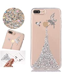 Sycode Coque pour iPhone 8 Plus,Silicone Étui Ultra Mince Housse pour iPhone 7 Plus,Luxe Bling Glitter Sparklers Cristal Transparent Beau Argent Fée Fairy Modèle Conception TPU Silicone Soft Crystal Clear Etui Housse Premium Strass Case Cover de Protection Bumper pour iPhone 8 Plus/7 Plus 5.5""