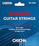 CASCHA Cordes Premium pour Guitare Acoustique (6 cordes) - Acoustic Guitar Steel Strings