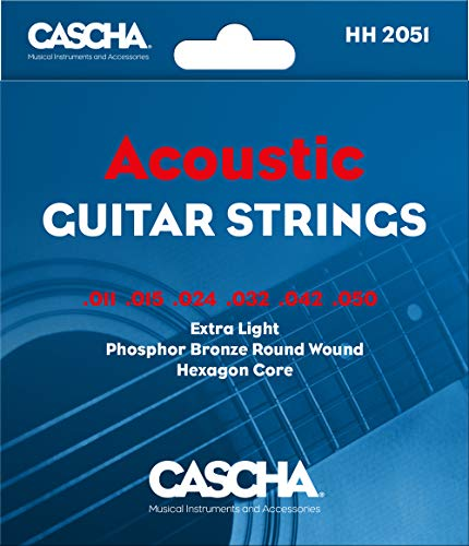 CASCHA Gitarrensaiten Westerngitarre aus Stahl - Premium Saiten für Akustikgitarre (6 Saiten-Set) - Acoustic Guitar Steel Strings (Weich E-gitarren-saiten)