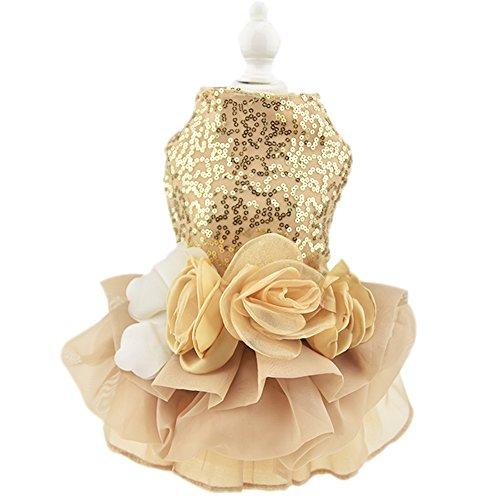 Vestido de perro de baile, falda tutú, flor, perro, gato de lujo, vestido de princesa de boda verano perro chihuahua ropa