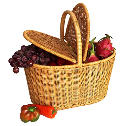 XMUEI Lagerregal Rattan Weidenkorb Picknickkorb Lagerkorb Einkaufskorb Einkaufskorb überdachter Outdoor-Korb Geschenkkorb (Color : B) (Utility Küchenschrank Schrank)