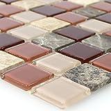 Selbstklebendes Naturstein Glas Mosaik Beige Braun Emperador