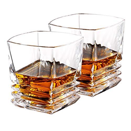 LANGRIA Whiskyglas Whiskybecher 2er Set 10 oz. Whisky Gläser Mundblas-Technologie aus bleifreiem Glas spülmaschinengeeignet kratzbeständig bruchsicher klar transparent Geschenkverpackung