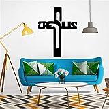simpyfine Stickers Muraux Créatifs Bible Jésus Croix Culture Stickers Muraux Fenêtres Murales Décoratives Salon Stickers de Décoration Imperméable