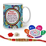 Indigifts Rakhi Gifts For Brother Bro May All Your Wishes Come True Quote Printed Gift Set Of Mug 330 Ml, Crystal Rakhi For Brother, Tika, Chawal & Greeting Card - Rakshabandhan Gifts For Brother, Rakhi For Brother With Gifts, Raksha Bandhan Gifts