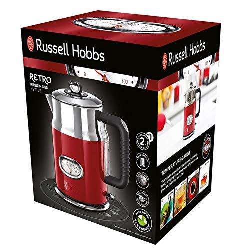 Russell Hobbs Retro Ribbon Red 21670-70 Wasserkocher 2400 W mit  stylischer Wassertemperaturanzeige Schnellkochfunktion, rot - 2