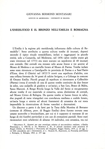 L'Eneolitico e il Bronzo nell'Emilia e Romagna.