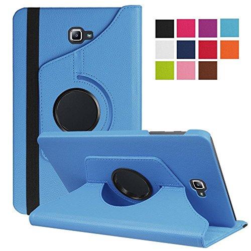 DETUOSI Funda Tablet Samsung Galaxy Tab 10.1, Giratoria 360 Grados Fundas de PU Cuero Smart Case Cover Protectora Carcasa para Samsung Galaxy Tab A 10.1 Pulgadas SM-T580N / T585N Tablet -Cielo Azul