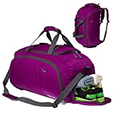 Duffel Backpack Travel Luggage Gym Sports Bag with Shoe Compartment Men Women Pink