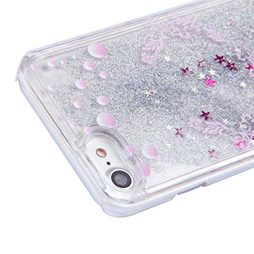 Copertura dura per la iPhone 7/8 plus, iPhone 7/8 plus Custodia Rigida, Case Cover per iPhone 7/8 plus in 3D Trasparente, Ukayfe Flowing Sparkles Argento Shinny Glitter Scintillio Bling Stars Polvere  Fiore rosa e pesce