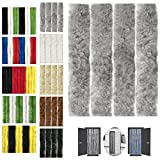 Flauschvorhang 90x220cm Insektenschutz Campingvorhang in Verschiedenen Farben, Auswahl: Unistreifen Grau