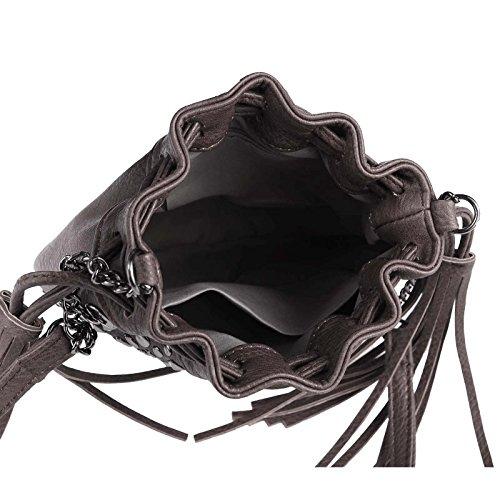 OBC ital-deisgn DAMEN NIETEN TASCHE UMHÄNGETASCHE Schultertasche Nieten Glitzer Kettentasche Fransentasche Schmucktasche Hobo Bucket Bag (Dunkelblau) Dunkelbraun
