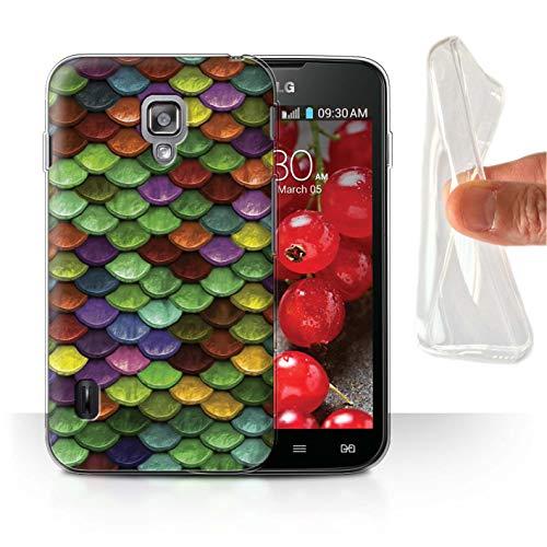 Stuff4® Gel TPU Hülle/Case für LG Optimus L7 II Dual/Mehrfarbiger Pastell Muster/Aquarell Meerjungfrau Skalen Kollektion (L7 Case Ii Optimus Lg Dual)