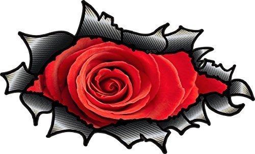 Oval Ripped offen Torn Karbonfaser, Carbonfaser-Effekt Design mit wunderschönen rot Rose Motiv Auto-Aufkleber Vinyl 150x 90mm (Design Ripped)