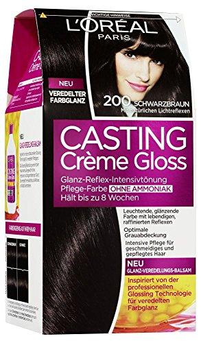 L'Oréal Paris Casting Crème Gloss Glanz-Reflex-Intensivtönung 200, Schwarzbraun (Glanz Lebendige Shampoo)