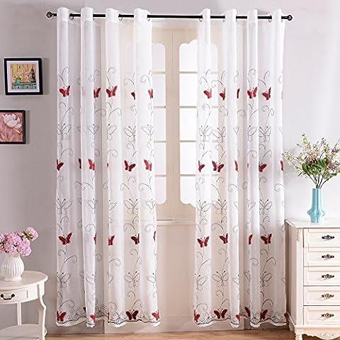 Top finel bordado mariposa gasa cortina de ventana SHEER paneles de cortina para salón, arandelas, solo panel, poliéster, Red Butterfly, 195 x 215 cm