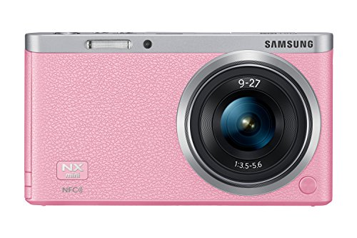 Samsung NX Mini 20.5MP CMOS Smart WiFi and NFC Compact Interchangeable Lens Digital Camera with 9-27mm Lens and 3-inch Flip-Up LCD Touchscreen (Pink), 16GB card with Free Samsung Backpack