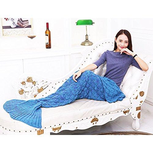 Mermaid Tail Coperta a Mano Knit Crochet Aria Condizionata Della Sirena Coperte con Bilancia Sofa Quilt per Tutte le Stagioni Molle Sveglio Caldo Accogliente Sacco a Pelo per Bambini Adulti (fiori viola)