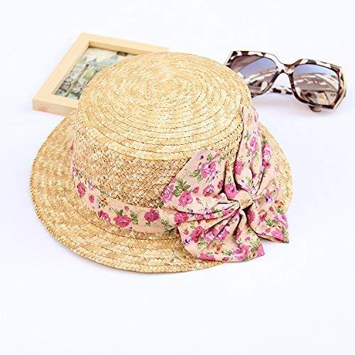 WENYAO Baodery Korean Flower, Stroh, Flat On The Hat, Sonne, Sommer, Strand, Sonne, Hütte, Hütte