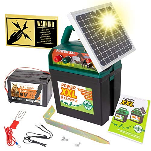 Power XXL B 12.000-S | starkes Solar-Weidezaungerät 9V/12V, inkl. 60Ah Batterie | Megapower zum Kampf-Preis | Hocheffektives Solarmodul – sehr lange Batterielaufzeit | Perfekt für Pferde & Ponyzaun