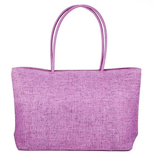 Yahee Handtasche Beach Bag Shopper Tragetasche Damen Tasche Korbtasche Strandtasche Schultertasche (hellrot) lila