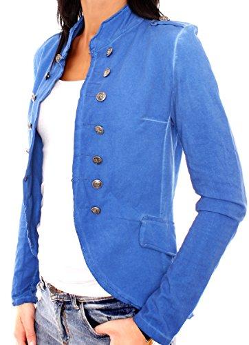 Easy Young Fashion Damen Vintage Military Jerseyblazer Royal