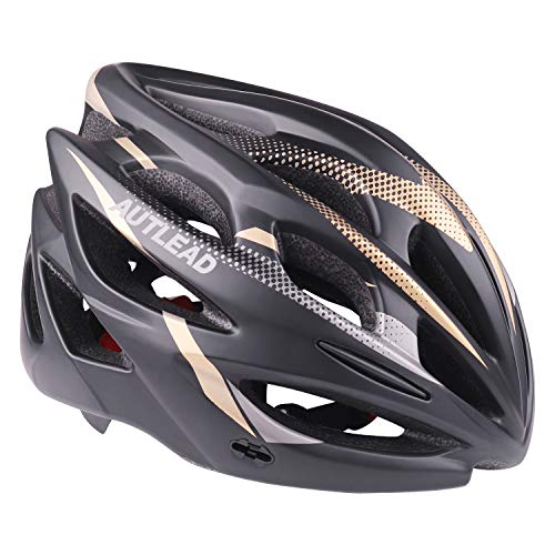 AUTLEAD Casco para Bicicleta con Luz LED, Casco Ajustable Certificado CE, Casco para Bicicleta de Carretera con Visera Magnética Desmontable para Hombres y Mujeres Super Light Adult (MV50)