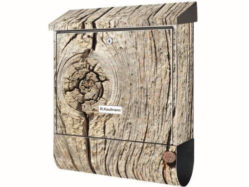 KlebeSpatz® Motiv Wand Briefkasten Premium mit Zeitungsfach Zeitungsrolle für C4 Holz alt