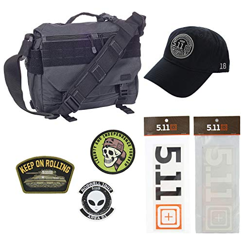 5.11 Kits Rush Delivery Mike Tactical Messenger Bag, Hat, Patches, and Decals Set - Military Tactical Pack - Double Tap Symbol Stealth Hat