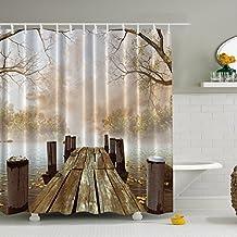 Cortina Ducha, Marsoul cortina de ducha 3D, poliéster tejido de la cortina de ducha del baño moho efecto gancho 12(Puente del otoño)