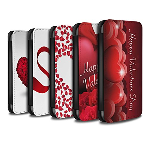Stuff4 Coque/Etui/Housse Cuir PU Case/Cover pour Apple iPhone X/10 / Coeur D'Amour Rouge Design / Coeur Valentine Collection Pack 7pcs