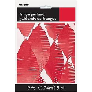 Unique Party Guirnalda de flecos de papel de seda Color rojo 274 cm 63634