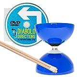 Diabolo Carrousel Bleu, a Roulement à Bille, avec Diablo Baguettes en Bois, Ficelle Pro et DVD !