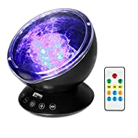 Semlos Remote Control Ocean Wave Projector Night Light with Built-in TF Card Slot Music Player and Timing Close Function for Kid's Bedroom Bathroom Living Room by Semlos