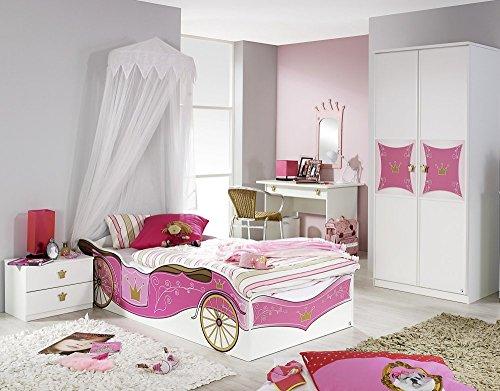 Rauch Kinderzimmer Mädchenzimmer Kate 4-TLG. Komplett Set in Weiss, Absetzungsfarbe Rosa
